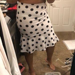 Polkadot pencil/flare skirt.